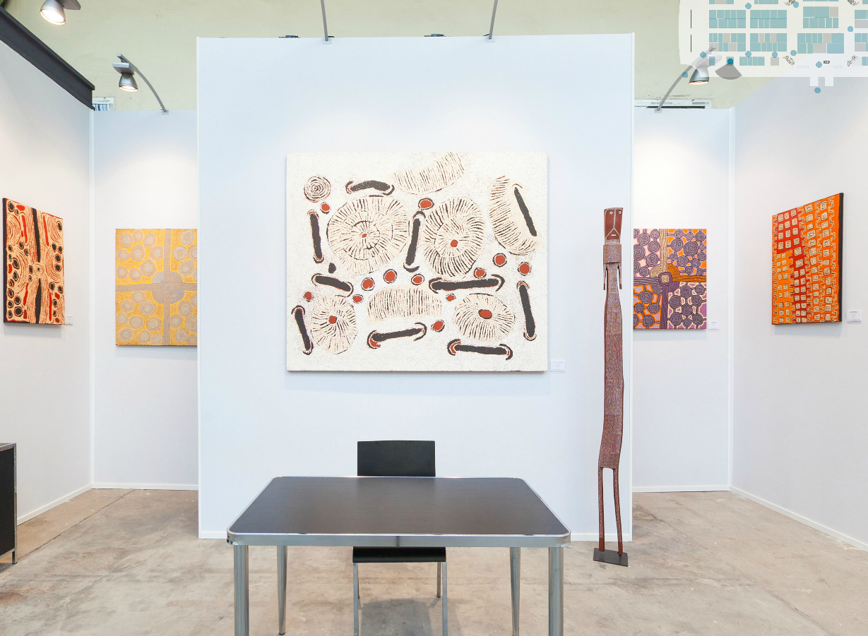 Visite virtuelle du stand A2 dédié à l'art aborigène à Art Paris Art Fair 2014