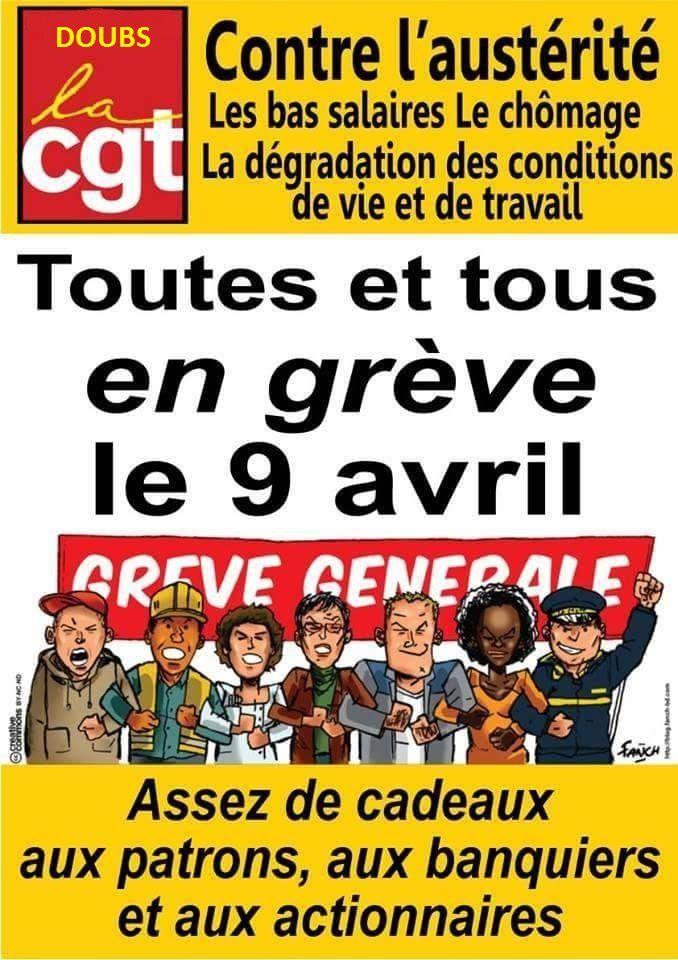 LA CGT ENDEL GDF SUEZ APPELLE LES SALARIE(ES) A SE MOBILISER POUR LA JOURNEE DE GREVE INTERPROFESSIONNELLE DU 9 AVRIL 2015.