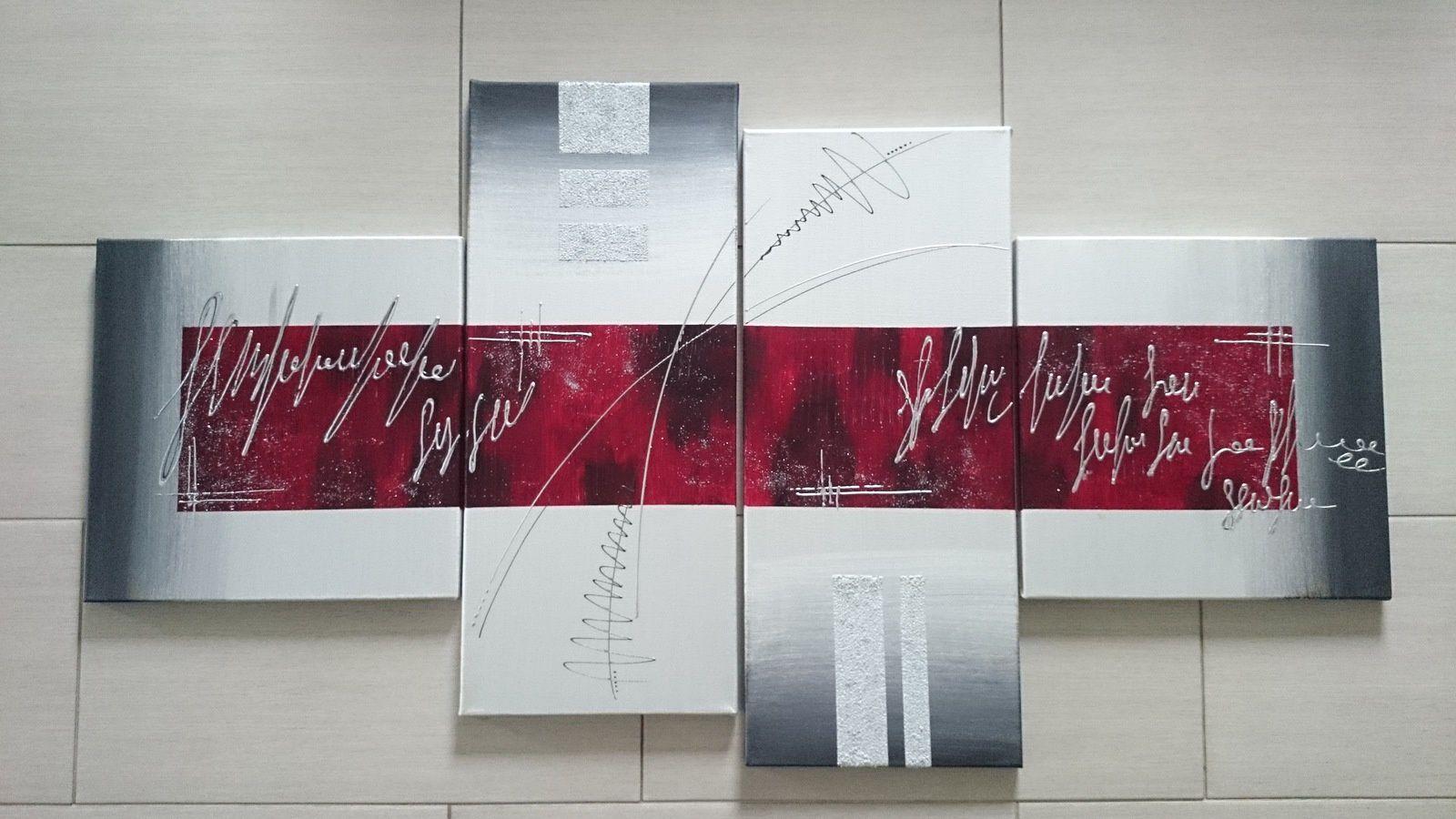 Tableau 58 gris et rouge les tableaux de muriel - Tableau rouge et gris ...