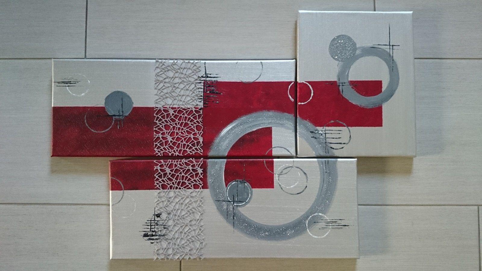 tableau 66 gris et rouge les tableaux de muriel. Black Bedroom Furniture Sets. Home Design Ideas