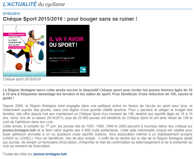 CHEQUES SPORT