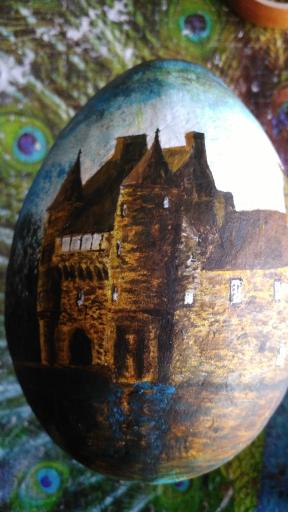 Le Château de Trécesson - Peinture sur œuf