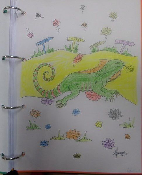 le dessin de Laura ... c'est elle qui a choisi la couleur du chemin de l'iguane ... follow the yellow brick road ...