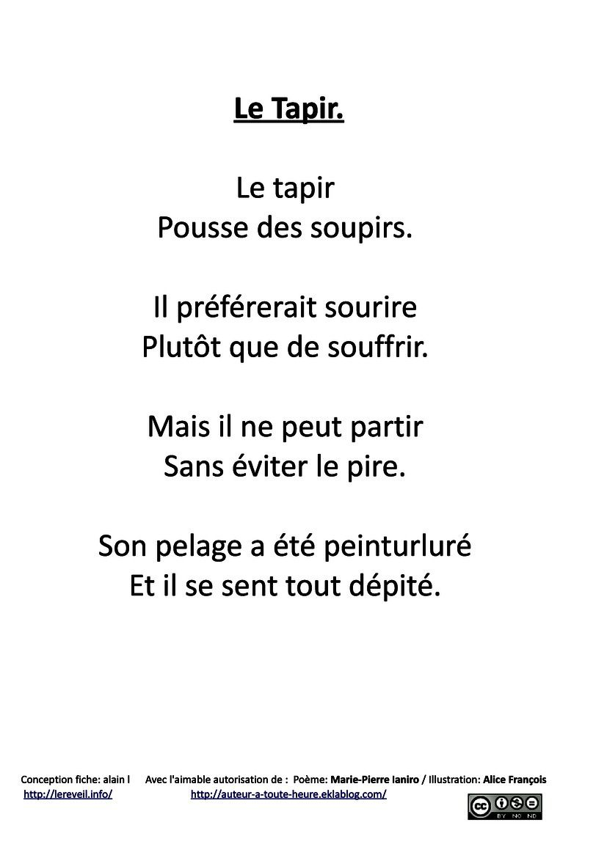 Les animots rigolos : le son [p] ... les poèmes ...
