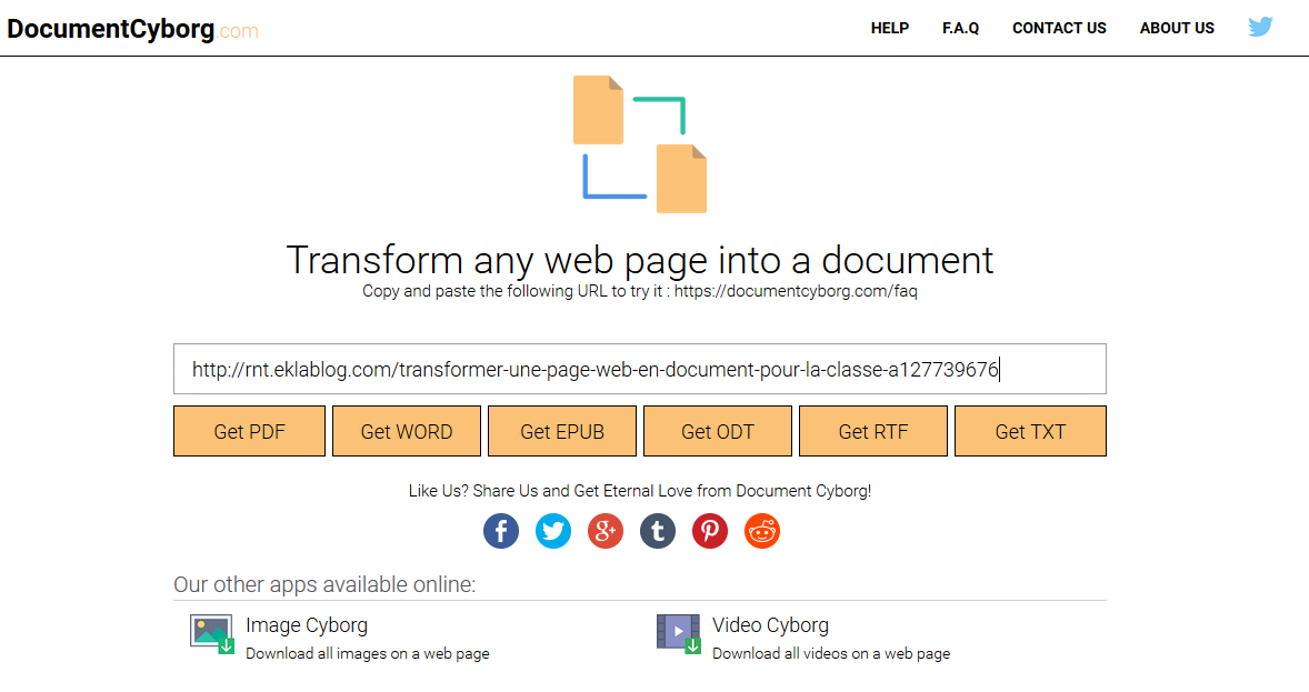 Cyborg: Transformer une page web en document pour la classe...