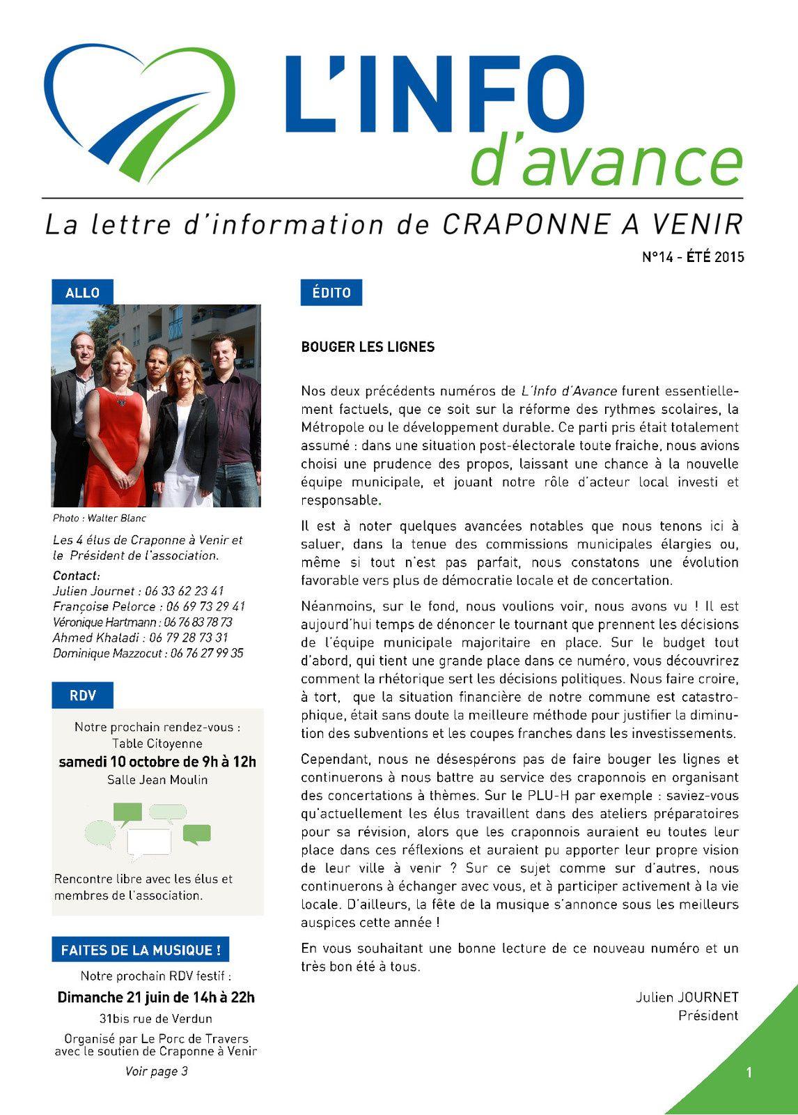 L'info D'avance n°14 - été 2015