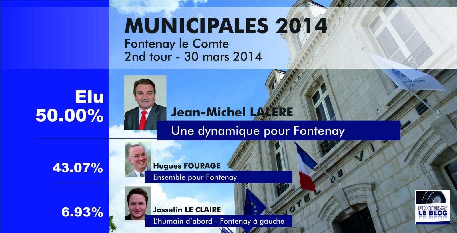 Municipales 2014 ► Jean-Michel Lalère remporte la mairie de Fontenay le Comte