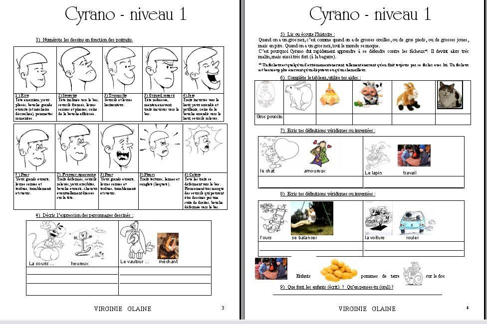 Cyrano niveau 1 - 2 proposition d'activité réalisée par Virginie GLAINE en 2010 - Ceci n'est pas un modèle.