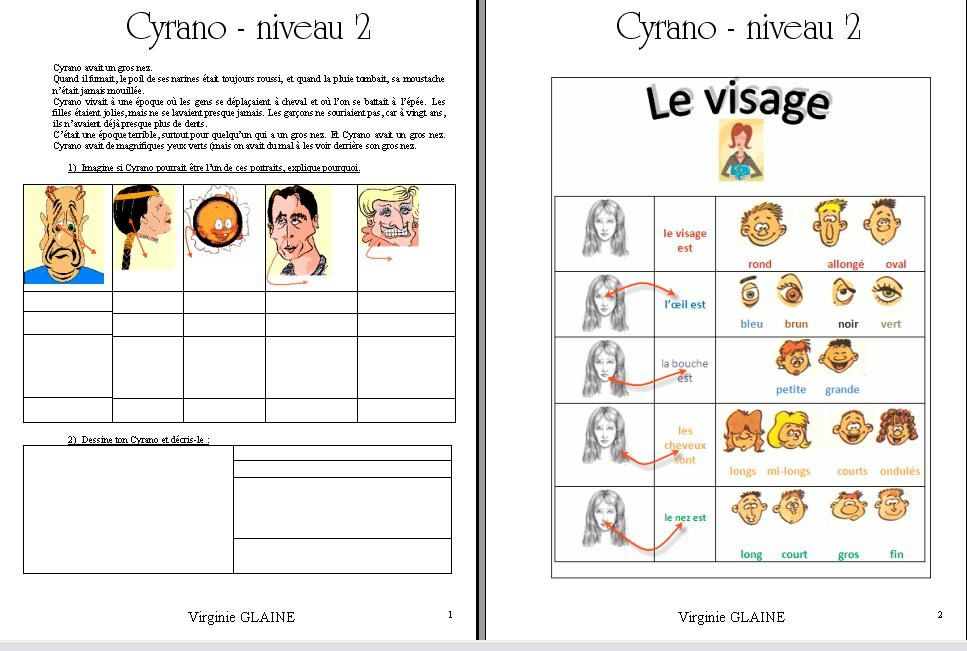 Cyrano niveau  2 - 1 - proposition d'activité réalisée par Virginie GLAINE en 2010 - Ceci n'est pas un modèle.