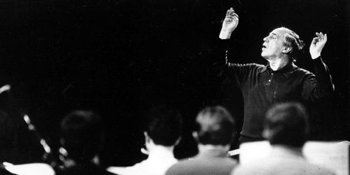 "In this February 11, 1986 photograph, conductor Pierre Boulez is shown in rehearsal for U.S. premiere of ""Repons."" (Marsha Traeger/Los Angeles Times/MCT)"