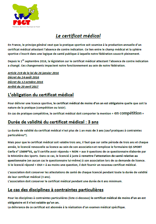Nouvelles Dispositions Cert Medical Loupy Cyclo