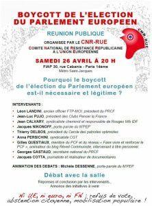 Boycott des Européennes : Réunion publique organisée par le CNR-RUE