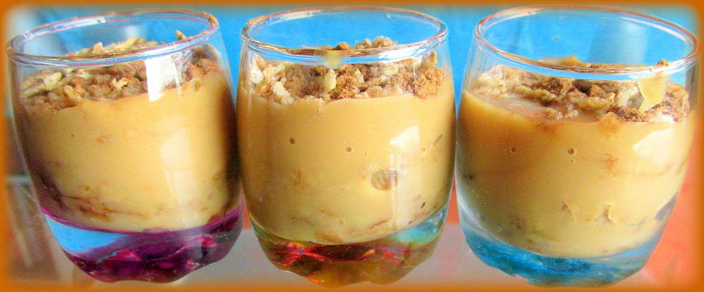 ~ Trio de mini-verrines ~ Crème dessert au caramel, pétales de céréales complètes, chicorée diluée et cannelle en poudre ~