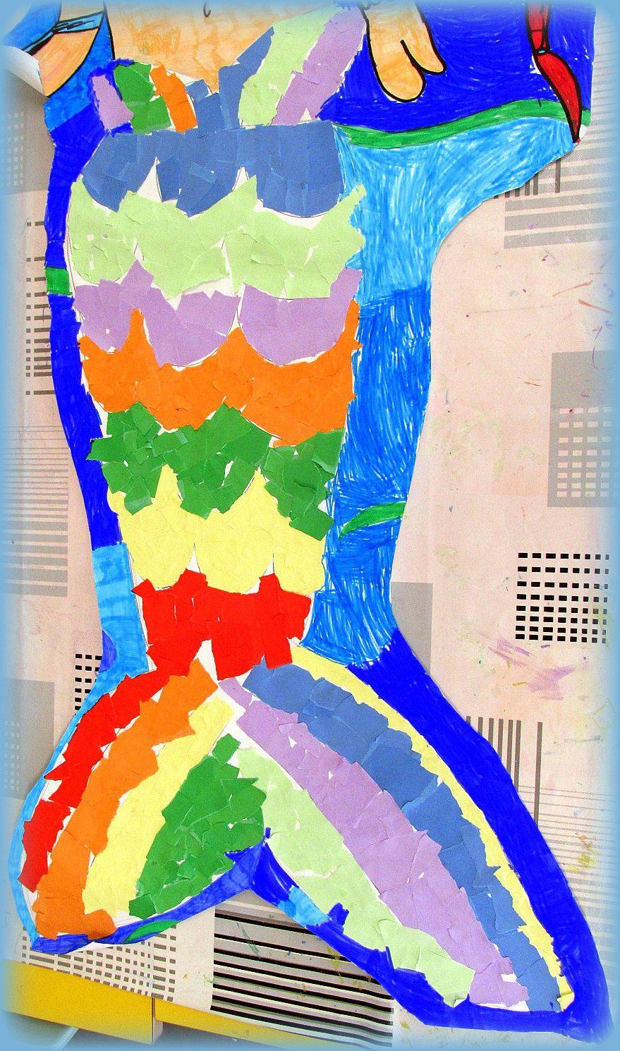 ~ A la rencontre de la grande sirène ~ On a déchiré, collé et colorié! :D ~ Création collective ~