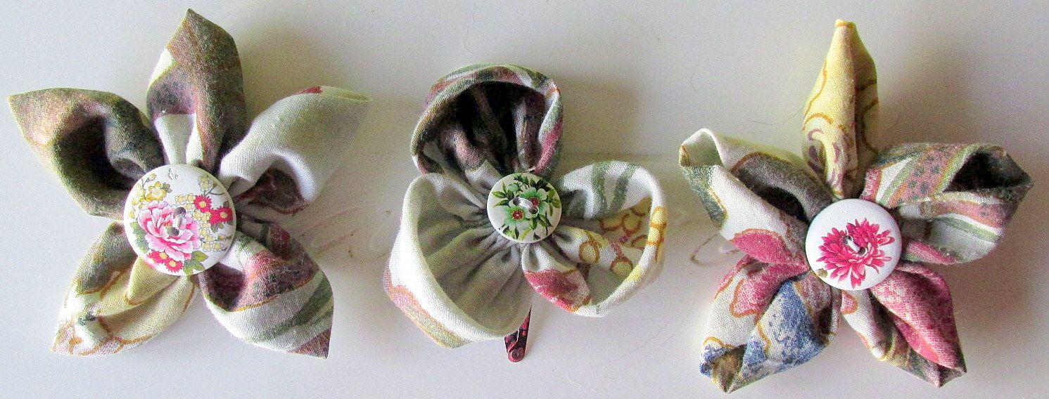 ~ Trio de barrettes ~ Pinces à cheveux ~ Fleurs aux pétales fleuris ~ Coeur boutonné fleuri ~