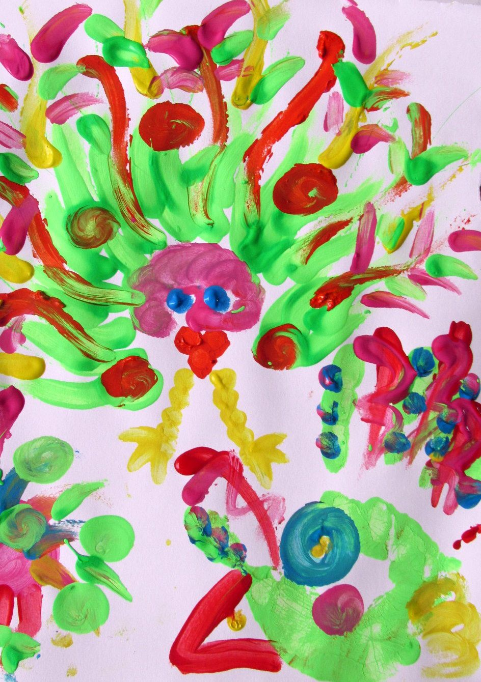 ~ Peinture avec les doigts et mains ~ Abstrait ~ Acrylique et gouache ~ Les leurs et le sien ~