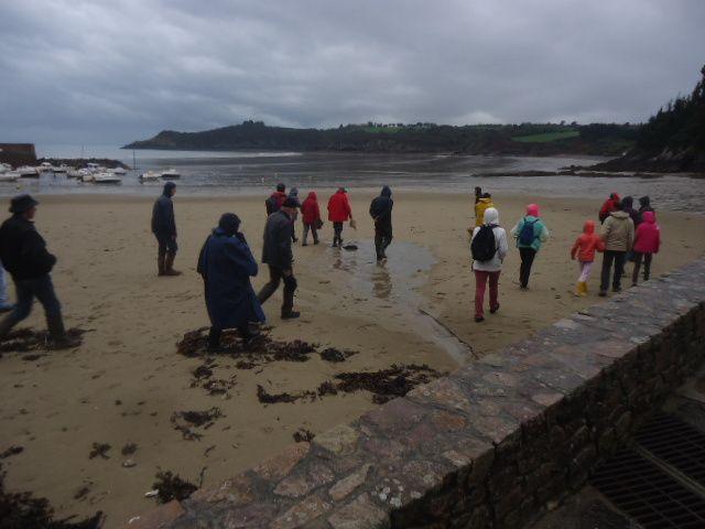 ... et sous la pluie (mais un peu moindre cependant... voyez que les parapluies sont rentrés...) que le groupe se met en route...