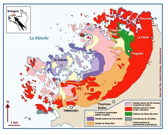 Sur cette carte d'ensemble du massif de Ploumanach, la partie que nous avons explorée est celle qui figure en rouge en haut et à droite...