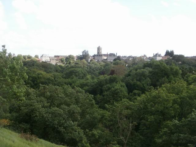 ... d'où nous pouvons voir de l'autre côté de l'Ouère différents édifices de la cité d'Argenton.