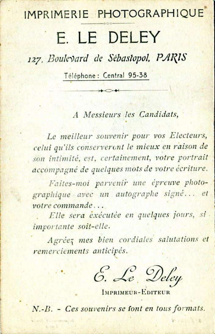 Autoportrait de Ernest-Louis-Désiré Le Deley. Il se met en scène pour proposer aux candidats de faire du marketing politique. Déjà !!!!