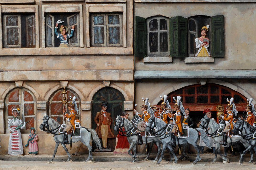 La musique du 29ème régiment de dragons en 1809. Figurines de chez Berliner Zinnfiguren.