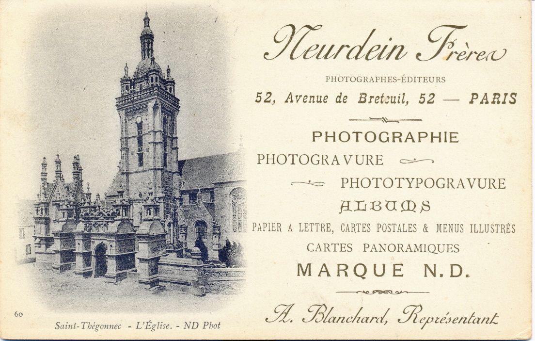 Les cartes de visite des commerciaux de la Maison Neurdein avant 1904