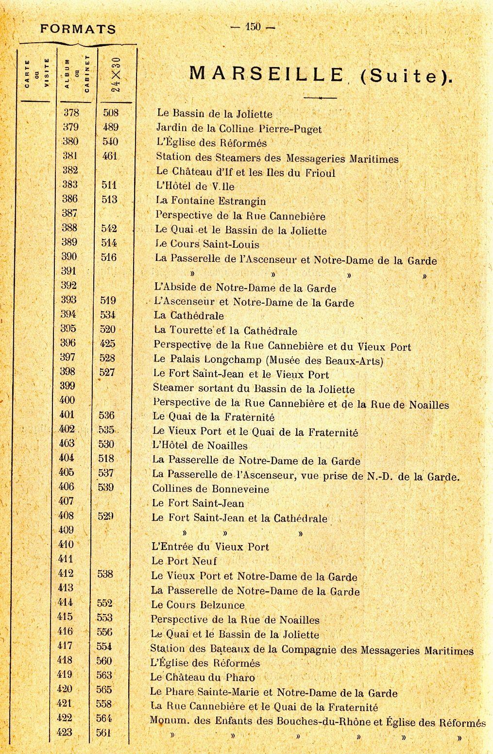 Extrait du catalogue de 1895