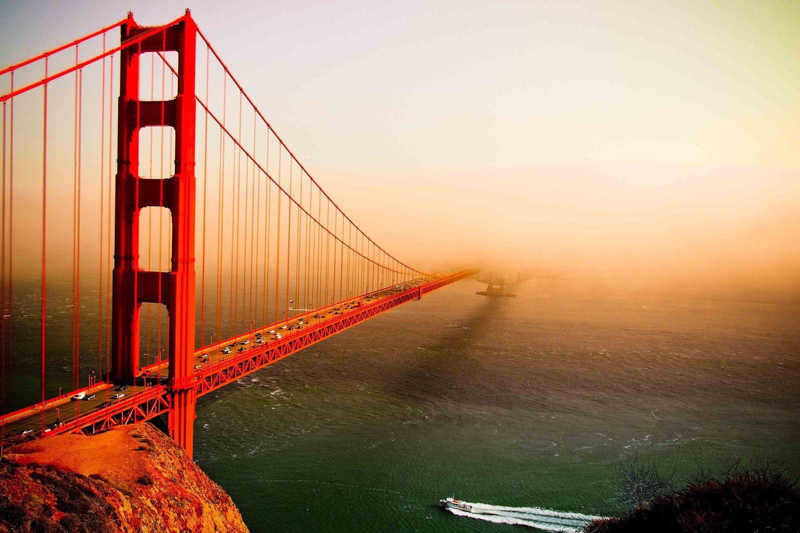 le Golden Gate Bridge avant et aprés le fog.