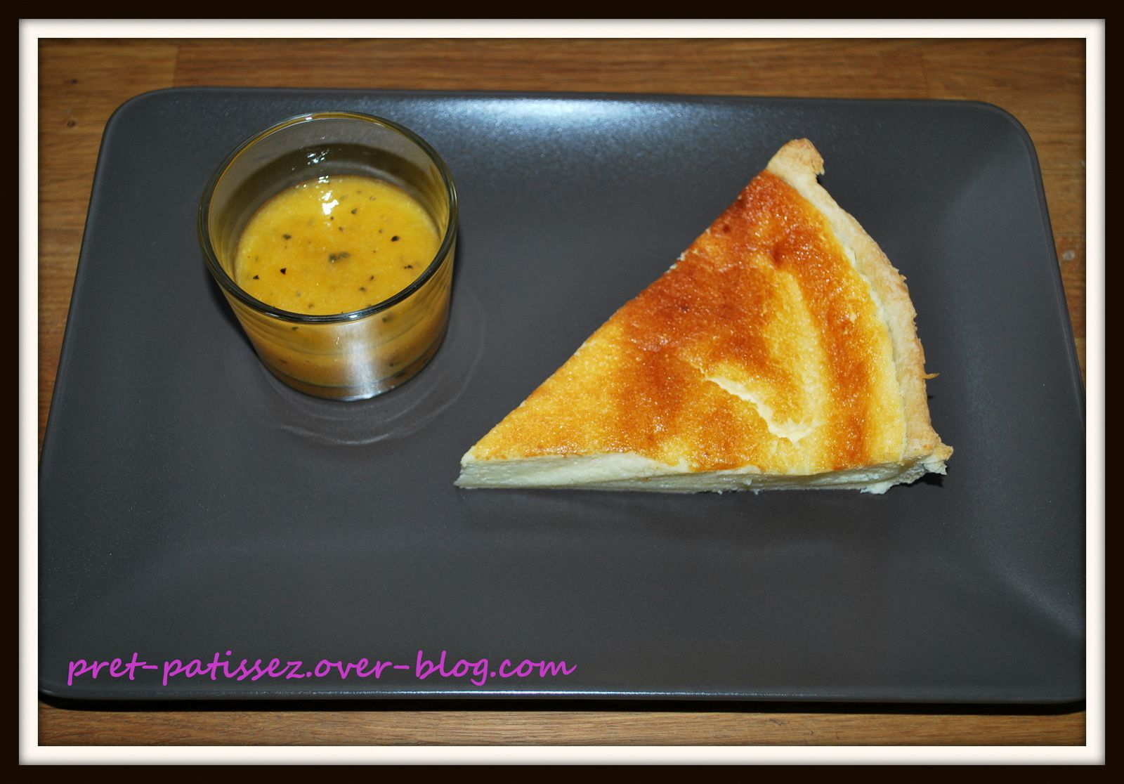 Tarte au fromage blanc coulis abricot/passion