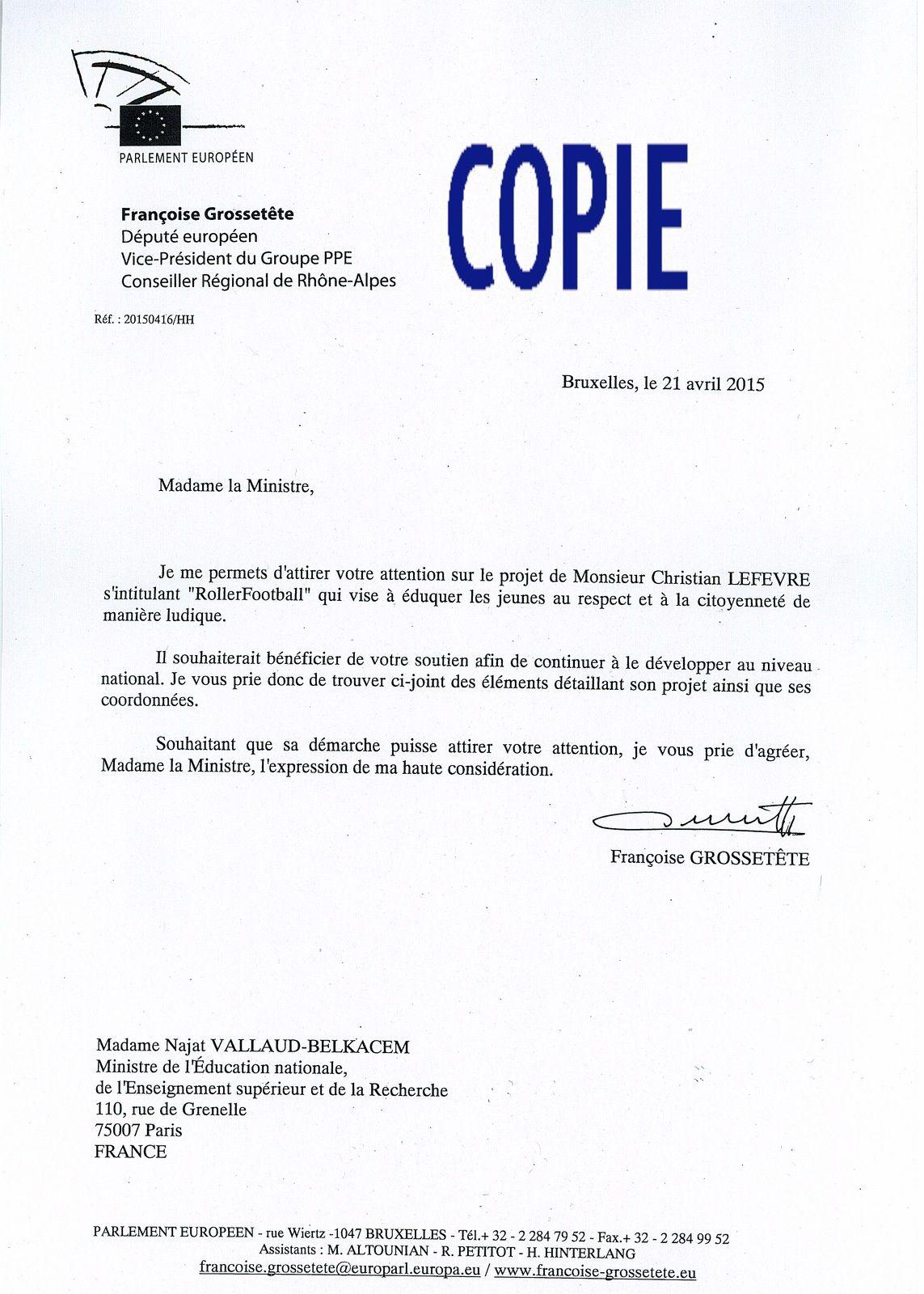 LETTRE DE LA VICE PRÉSIDENTE DU PARLEMENT EUROPÉEN