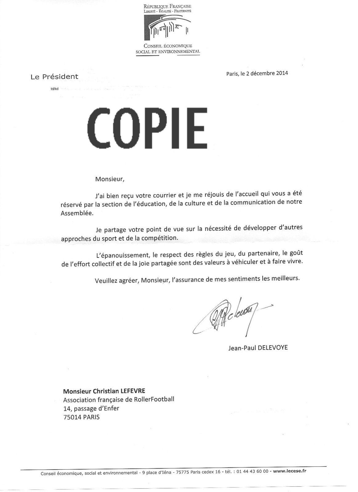 COURRIER DU PRÉSIDENT DU CONSEIL ÉCONOMIQUE ET SOCIAL JP DELEVOYE