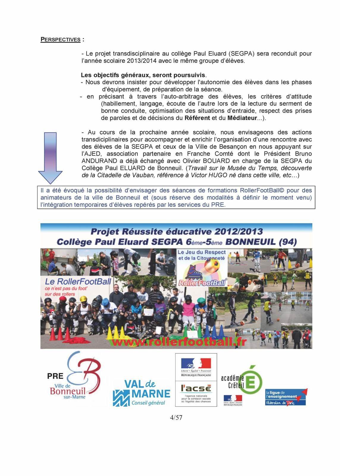 Eléments constitutifs du dossier Projet RollerFootBall©  Prix prévention délinquance 2015 EUROPEAN FORUM FOR URBAN SECURITY (EFUS) PART.2