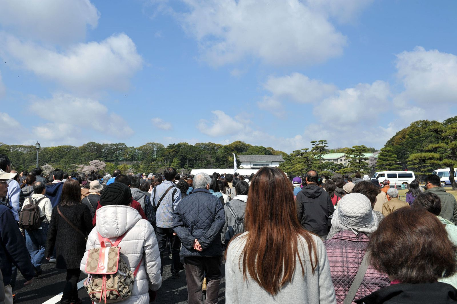 天皇陛下が80歳の傘寿を迎えられたことを記念して皇居・乾通りの一般公開が行われた。訪れた人々は5日間で延べ38万5千人、毎日数万人の人々が朝からおしよせて長蛇の列をつくり、開門とともに坂下門へなだれ込んでいった。期間中は好天で、桜の花も残っていた。