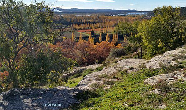 Le paysage est grandiose. On comprend mieux la passion des peintres à cause des couleurs, des volumes, des perspectives. Au loin, on peut voir le pont du TGV qui traverse le Rhône, les Alpilles et deviner là-bas, la Camargue.