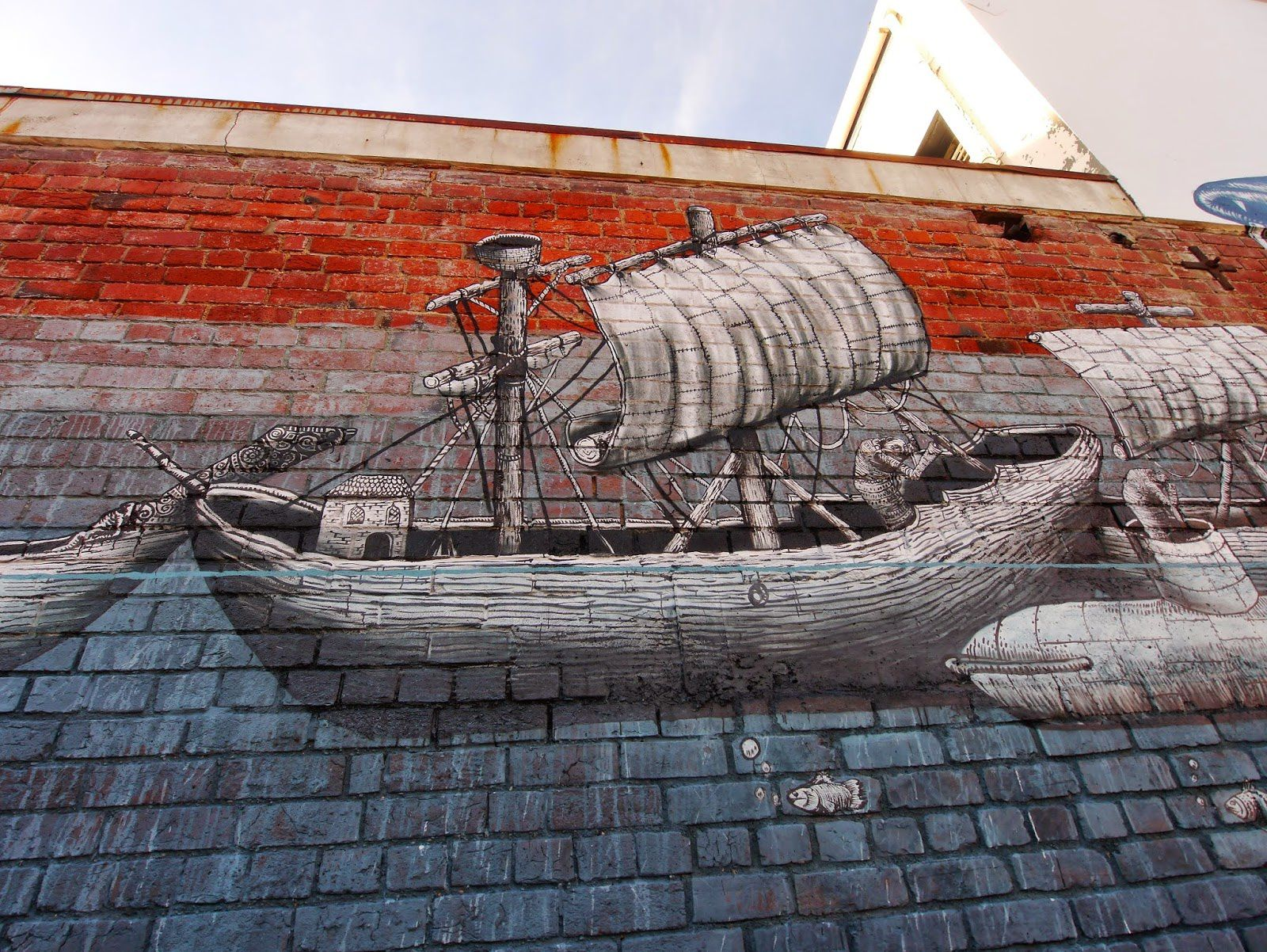 Phlegm new mural in Dunnedin, New Zealand
