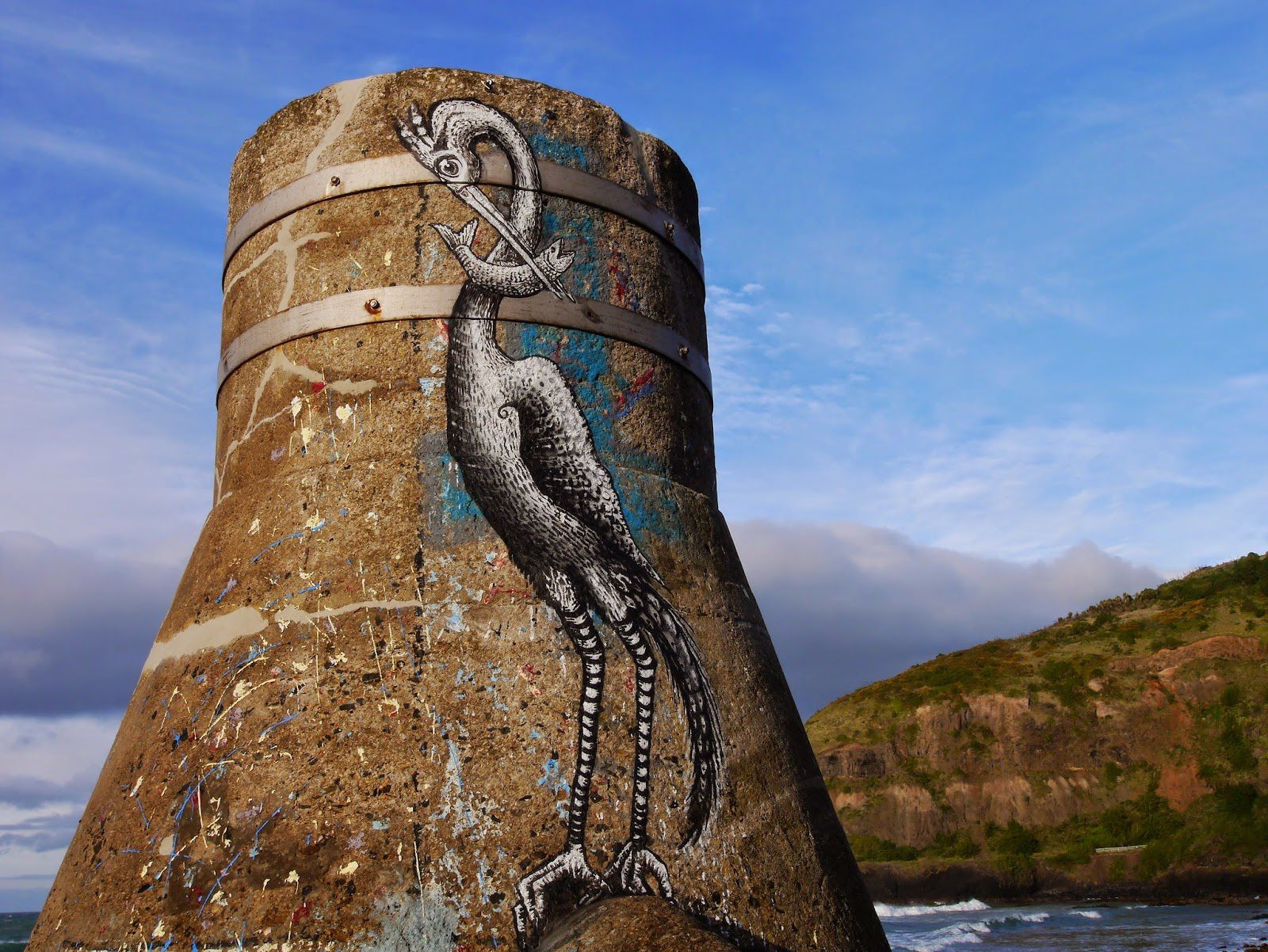 Phlegm new mural in Dunedin, New Zealand