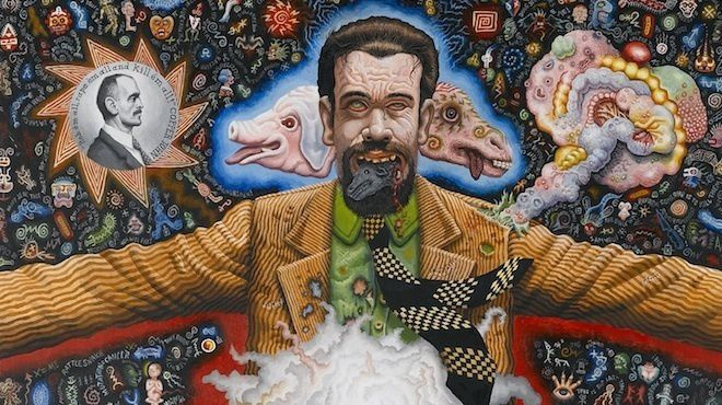 Joe Coleman, 'Portrait of Professor Mombooze', détail, 1986 / © Collection particulière