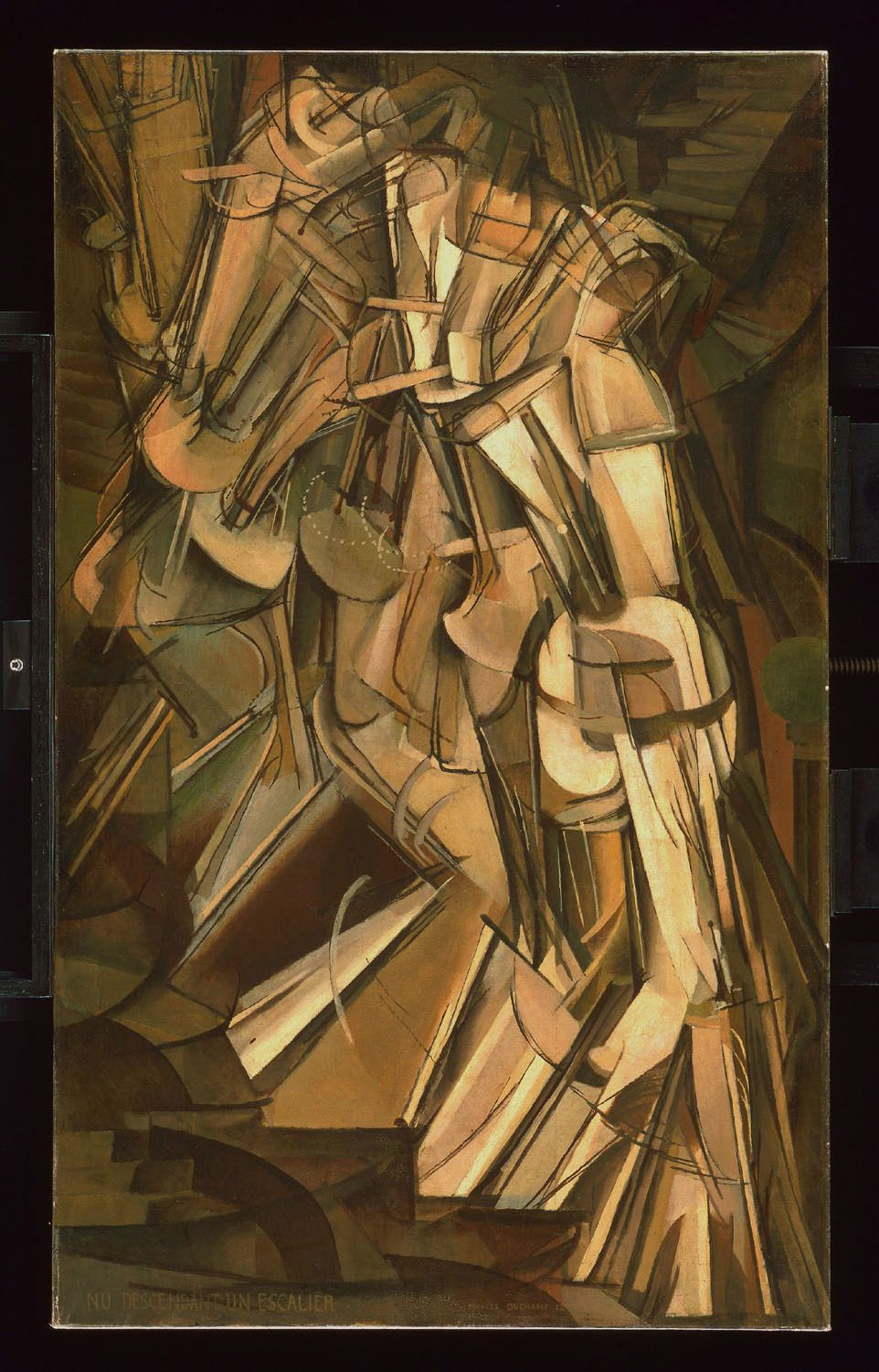MARCEL DUCHAMP Nu descendant l'escalier n°2,  1912, huile sur toile, 146 x 89 cm Philadelphia Museum of Art, The Louise and Walter Arensberg  Collection, 1950 © 2014 Photo The Philadelphia Museum of Art / ArtResource /  Scala, Florence © succession Marcel Duchamp / ADAGP, Paris 2014