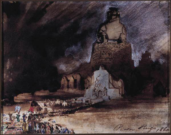 Victor Hugo, La Légende des Siècles, partie encore inédite plume, lavis d'encre, fusain et aquarelle, 1860 Maison de Victor Hugo © Maisons de Victor Hugo / Roger- Viollet