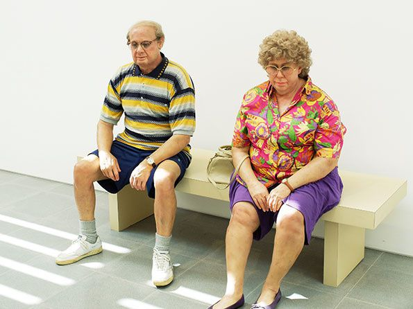 Duane Hanson, Old Couple on a bench, 1994. Galerie Gagosian.