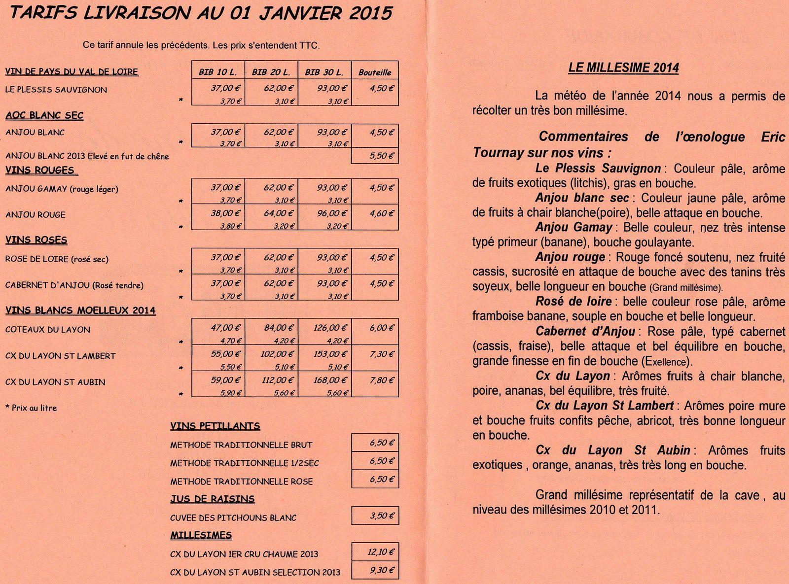Bon de commande vins du Val de Loire