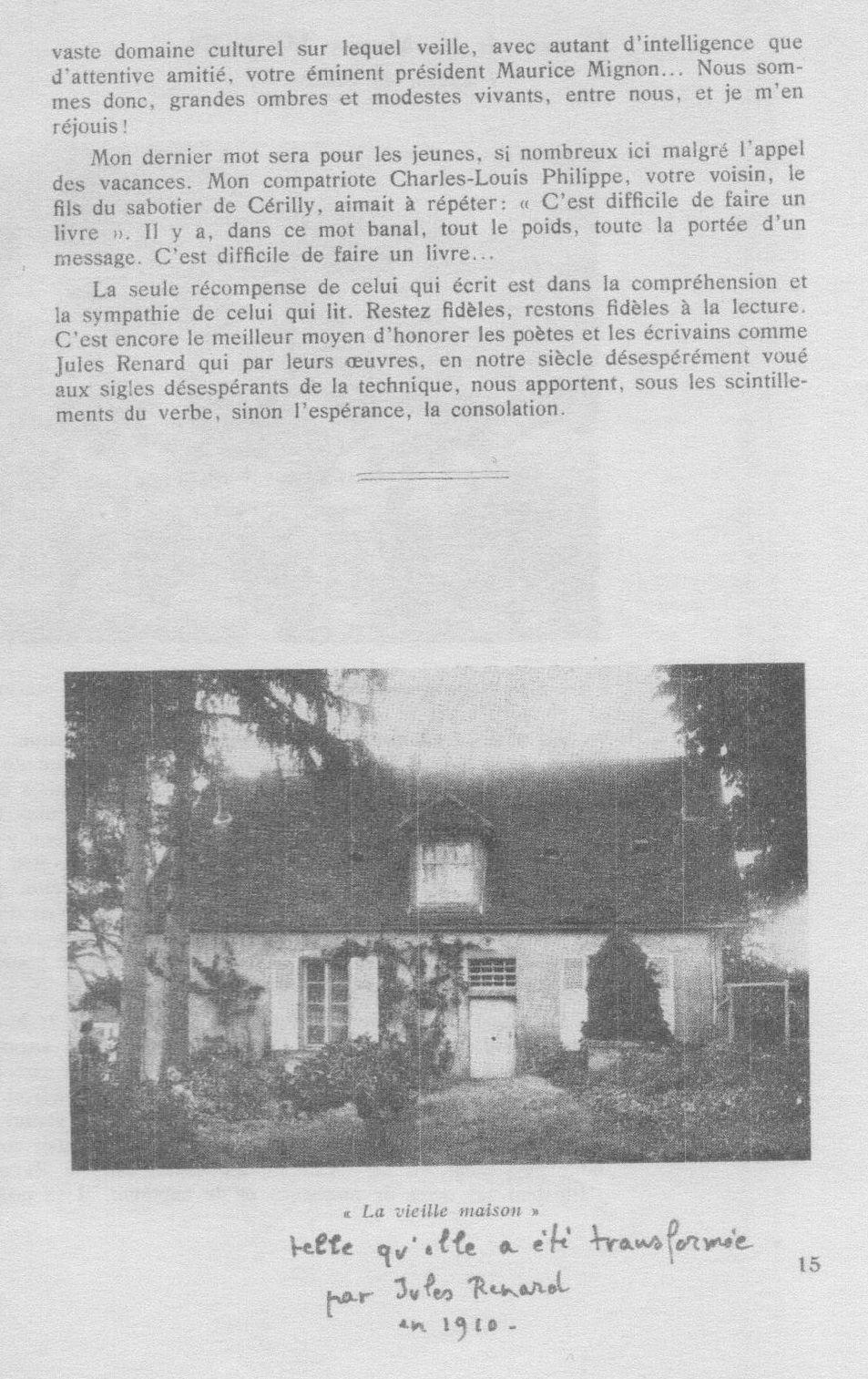 René Palmiéry, 24 juillet 1960. Inauguration du nouveau buste de Jules Renard à l'occasion du cinquantenaire de sa mort