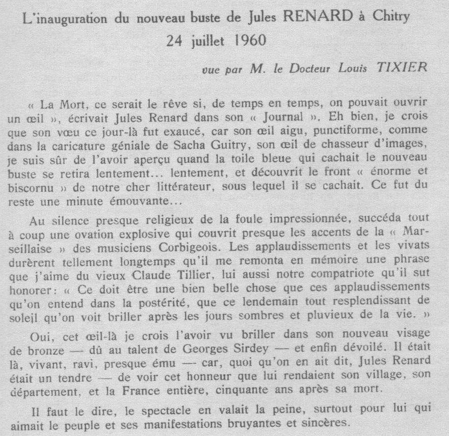 Louis Tixier : 24 juillet 1960, Inauguration du nouveau buste de Jules Renard à l'occasion du cinquantenaire de sa mort (discours)