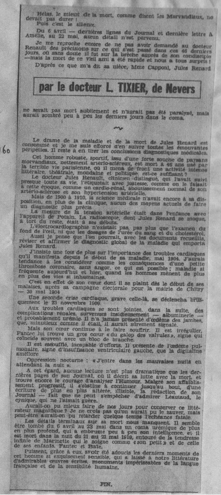 1319.L.Tixier : Journal du Centre, 11 octobre 1961 (essai sur la vie, la maladie et la mort de Jules Renard) préface Léon Guichard