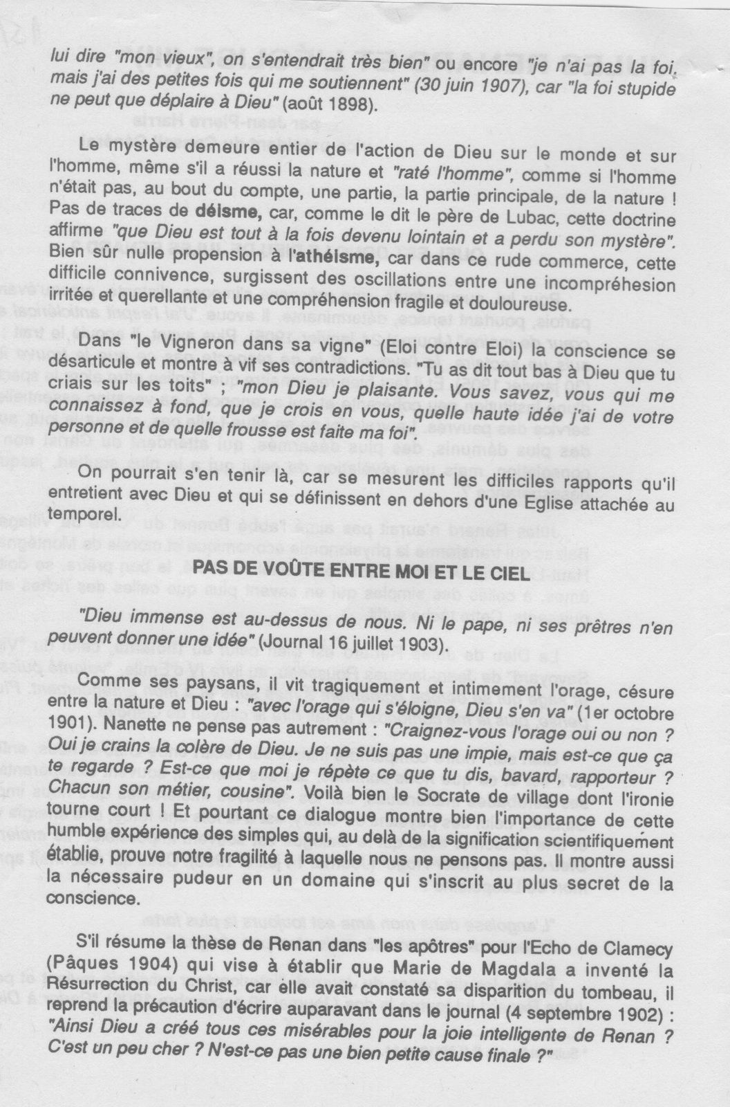 Jean-Pierre Harris, « Jules Renard et l'Église », Semaine religieuse du diocèse de Nevers, juillet-août 1990, nos 13-15.