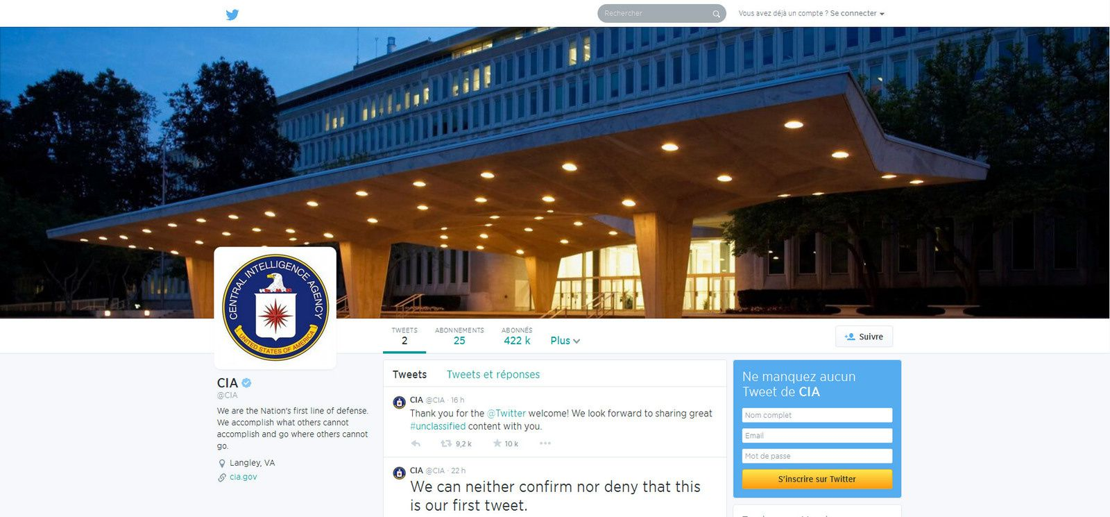 The US Central Intelligence Agency on Friday did something anathema to its usually secretive mission: it joined Twitter.