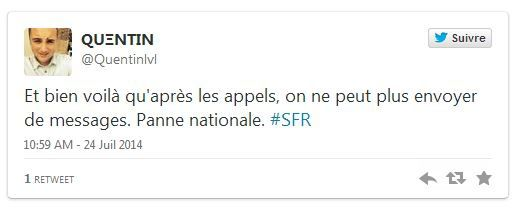 Panne nationale ce 24/07/2014 chez SFR La 4G en France !