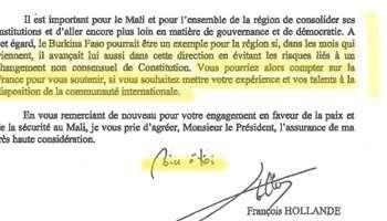 La lettre de Hollande à Compaoré, et l'appui de la France pour sa fuite en Côte d'Ivoire en jet privé !