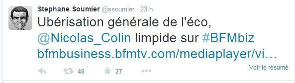 Uber - Taxi - BFM TV - Stéphane SOUMIER - 36,8k followers - compte Twitter