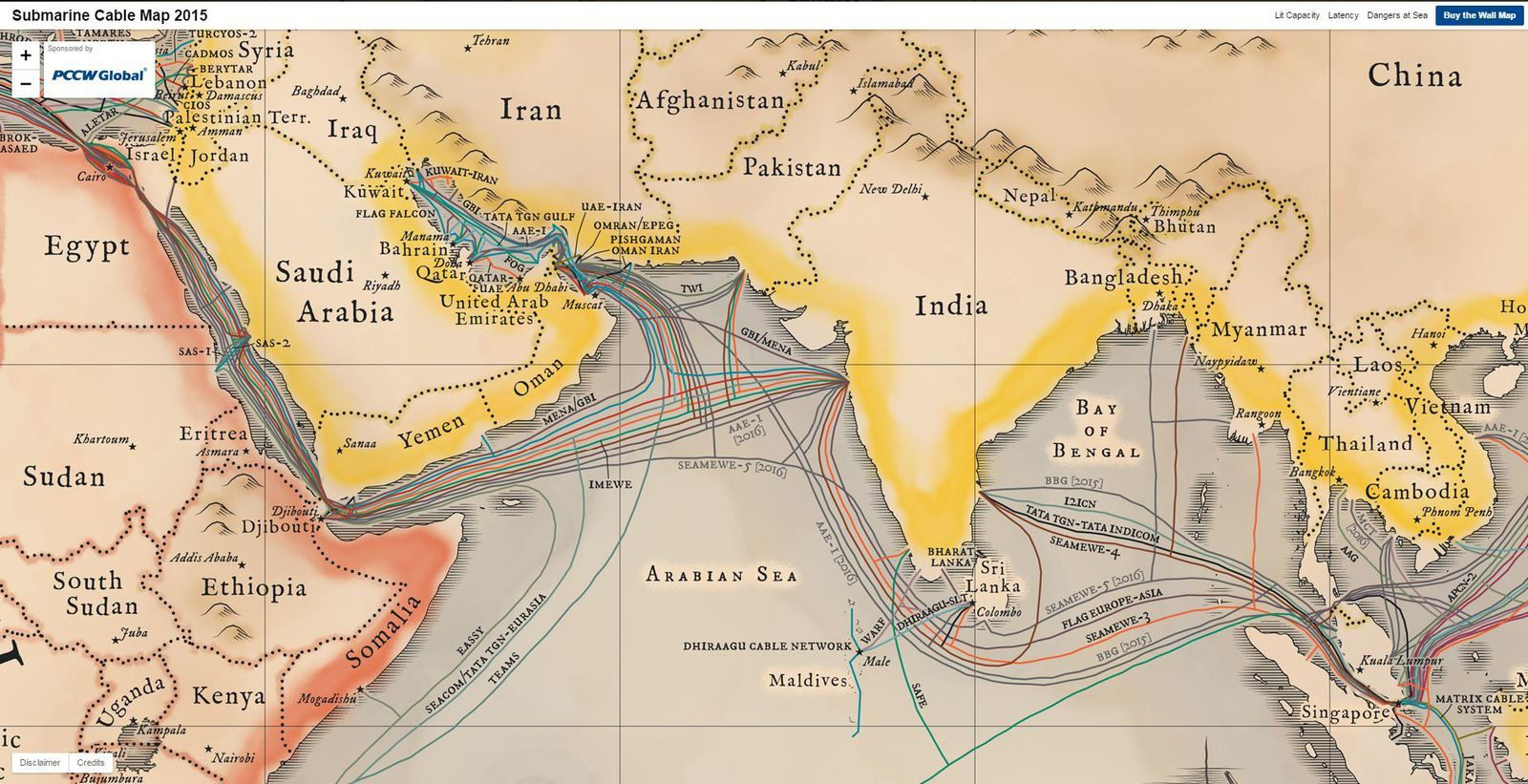 Global Internet map / Submarine Cable Map 2015